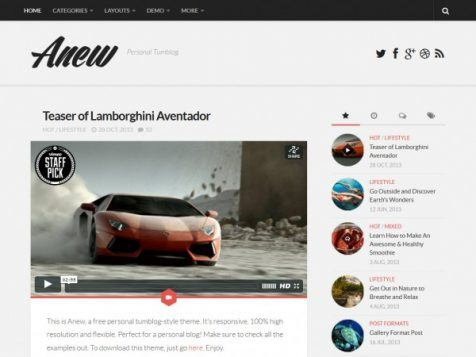 Template WordPress Gratis Anew, Klasik Responsive