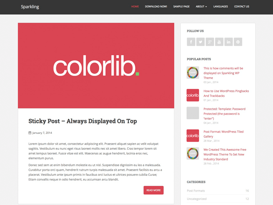Sparkling - Template WordPress Modern Gratis dari Colorlib