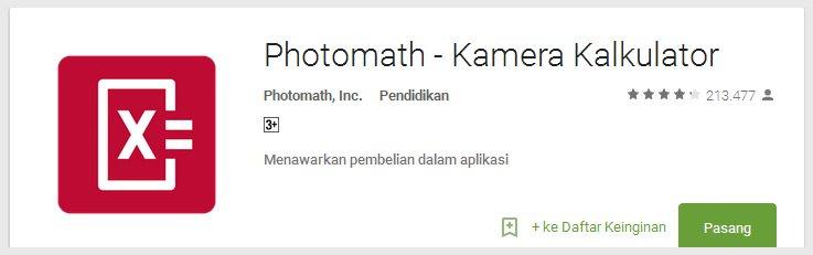 photomath - Aplikasi Android Terunik Terbaru