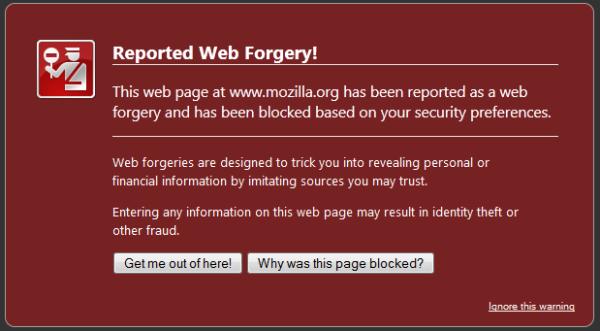 Phishing and Malware Warnings - Jenis-jenis browser error