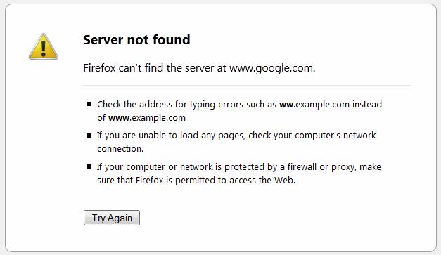 Server Not Found - Jenis-jenis browser error