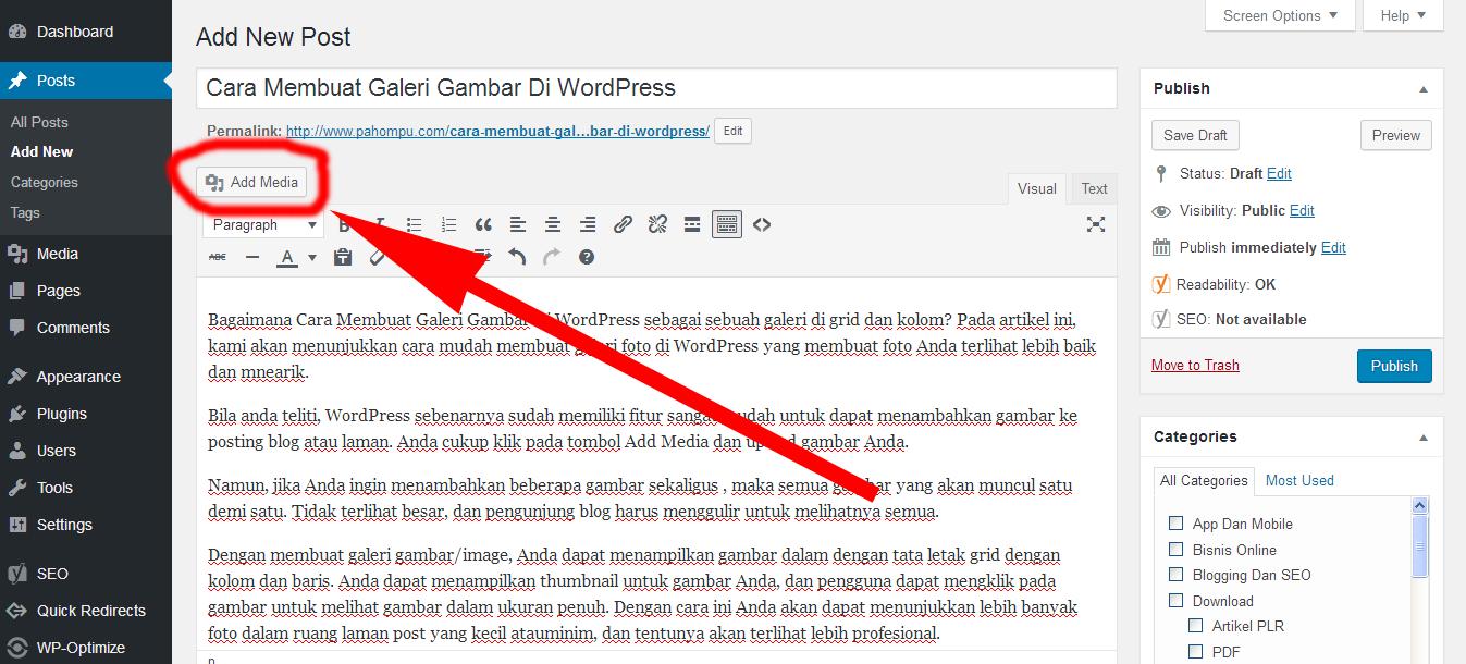 Cara Membuat Galeri Gambar Di WordPress 1