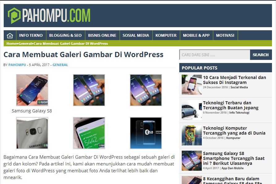 Cara Membuat Galeri Gambar Di WordPress 7
