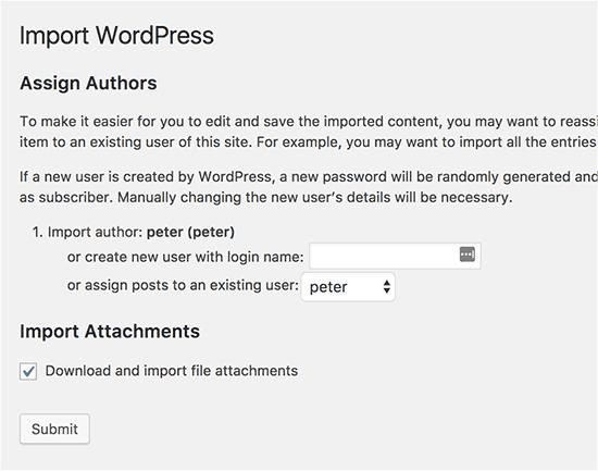 Pengaturan impor WordPress