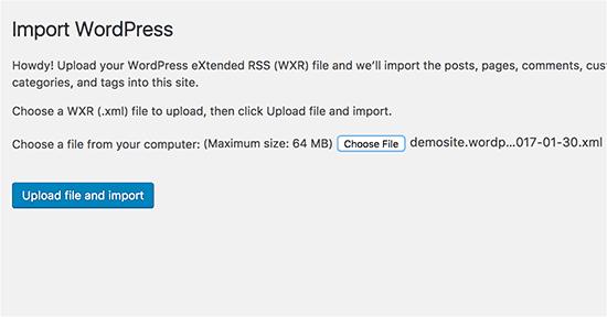 Upload file impor WordPress